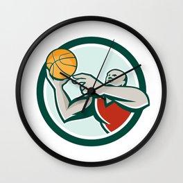 Basketball Player Lay Up Ball Circle Retro Wall Clock