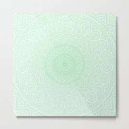 Green Mandala Design Extra Detailed Geometric Ethnic Tribal Pattern Metal Print