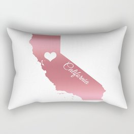 Rose Gold California Heart Rectangular Pillow