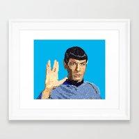 spock Framed Art Prints featuring Spock by Connor Corbett