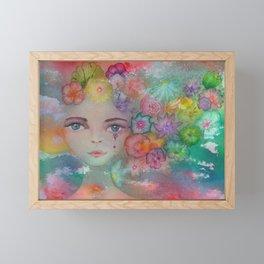 Summer watercolor flower girl portrait  Framed Mini Art Print