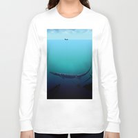 abyss Long Sleeve T-shirts featuring Black abyss by Tony Vazquez