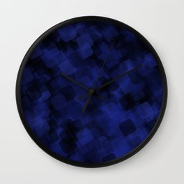 Indigo Ice Abstract in Squares Wall Clock