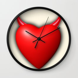 Heart Series Love Red Devil Horns Love Valentine Anniversary Birthday Romance Sexy Red Hearts Valent Wall Clock