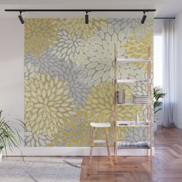 Floral Prints, Soft Yellow and Gray, Modern Print Art Wall Mural