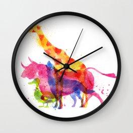 Colorful animals overprint Wall Clock
