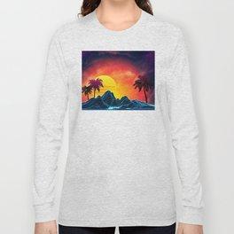 Sunset Vaporwave landscape with rocks and palms Long Sleeve T-shirt