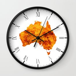 Australia Map With Flames Background Wall Clock