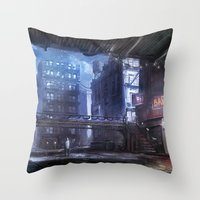 uncharted Throw Pillows featuring Bridge by Jordan Grimmer