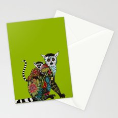 ring tailed lemur love lime Stationery Cards