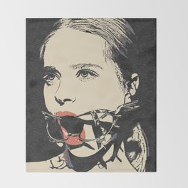 Talking heads, there is always way to change that, BDSM erotic artwork, gagged beauty portrait Throw Blanket