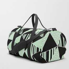 Black, green polygonal geometric pattern. Duffle Bag
