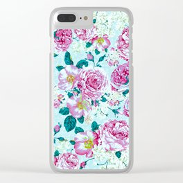 Vintage modern pink green teal watercolor floral Clear iPhone Case