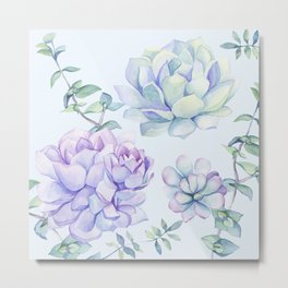 Wonderful Succulents Light Blue Metal Print