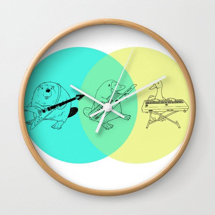 Keytar Platypus Venn Diagram Wall Clock By Jamesmichals Society6