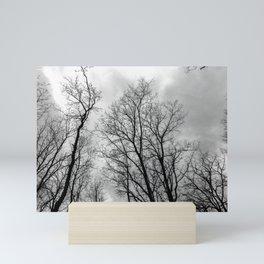 Creepy black and white trees Mini Art Print