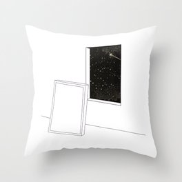 Window into star space night Throw Pillow