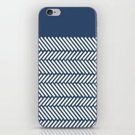 Herringbone Boarder Navy iPhone Skin