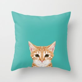 Tabby orange cat head cat breed gifts cute tabby cats must haves Throw Pillow