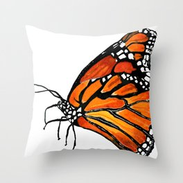 Watercolor Monarch Butterfly in Flight Throw Pillow