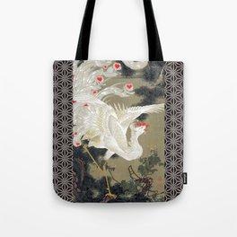 Jakuchu Phoenix with Hemp Pattern Background Tote Bag