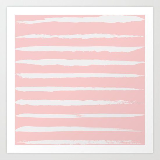 Irregular Hand Painted Stripes Pink Art Print