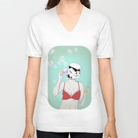 bubbles V-neck T-shirts featuring Bubbles by Cisternas