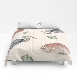 Heron and Fish Comforters