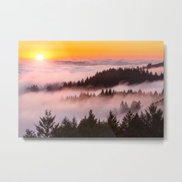 Bolinas Ridge Foggy Sunset Metal Print