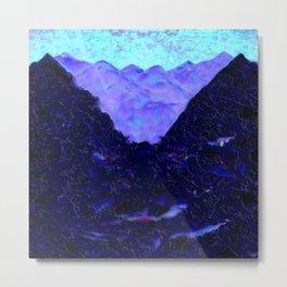 purple mountain and wolf Metal Print