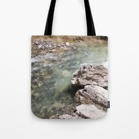 allyson johnson Tote Bags featuring Johnson Canyon rocks by RMK Creative