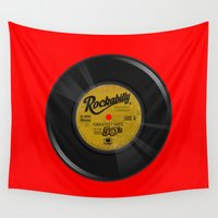 rockabilly Wall Tapestries featuring Rockabilly Vinyl by Nano Barbero