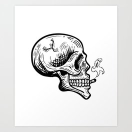 Smoker skull Art Print