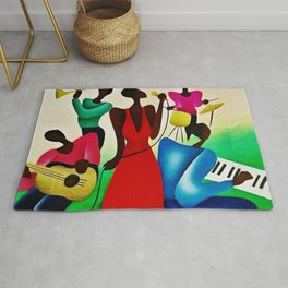 Classical African American Masterpiece 'Bourbon Street New Orleans Jazz' by Fred Blassingham Rug