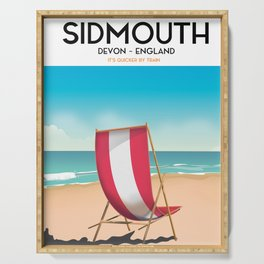 Sidmouth, devon, vintage travel poster Serving Tray