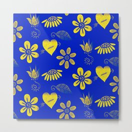 Yellow and Blue Floral Pattern Metal Print