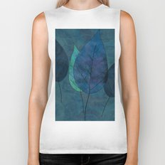 Leaves in blue and green Biker Tank
