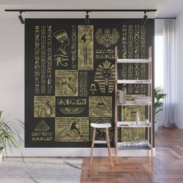 Egyptian  hieroglyphs and symbols gold on black leather Wall Mural
