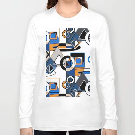 Abstract pattern with bold geometric shapes . Long Sleeve T-shirt