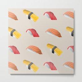 Minimal Sushi Pattern Metal Print