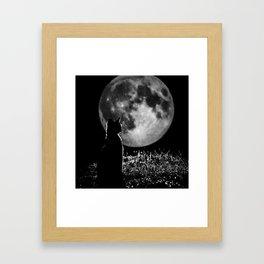 Lunar cat Framed Art Print