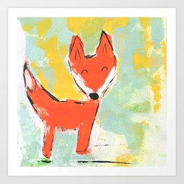 Bright and Happy Fox Art Print