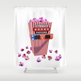 Pink Candy Popcorn and 3D Movie glasses Shower Curtain