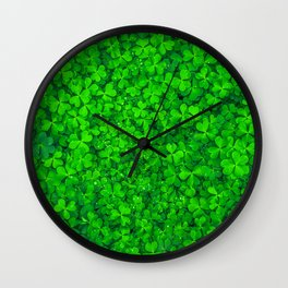 Clover Leaf Shamrocks Wall Clock
