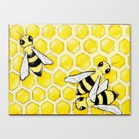 "bees Canvas Prints featuring ""Bees"" by Nicole Jolley"