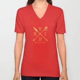 VIBE - Feather Arrow Cross - GOLD Unisex V-Neck