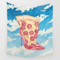 boys Wall Tapestries featuring No Boys, Just Pizza by cahill wessel