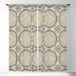 Stitched Bubbles Beige Blackout Curtain
