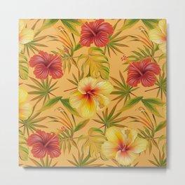 Leave And Flowers Pattern Metal Print