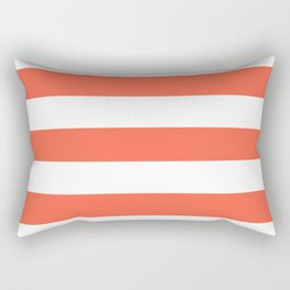 Tomato - solid color - white stripes pattern Rectangular Pillow